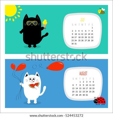 Cat Horizontal Calendar 2017 Cute Funny Stock Illustration 544699609 - Shutte...