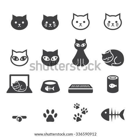 cat icon set - stock vector