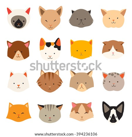 Cat icons head, breed cats. Cute kitties, animal's head logo. Cats in a flat style, cat's face. Let's cat. Flat vector illustration, isolated on white background - stock vector