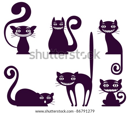 Cat icons set - stock vector