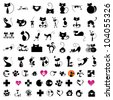 Cat illustration elements for icon, logo, card & background