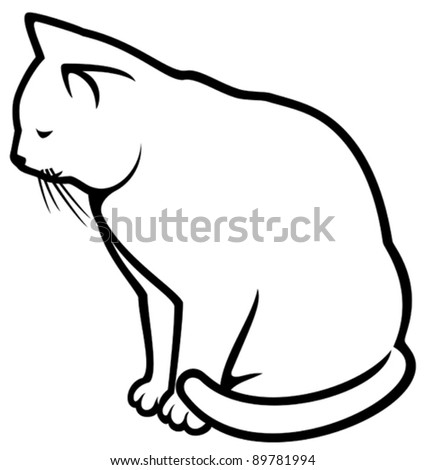 cat (illustration of a white cat) - stock vector