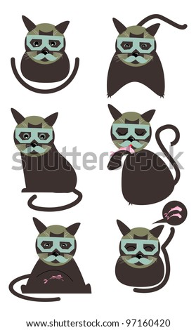 Cat in a mask - stock vector
