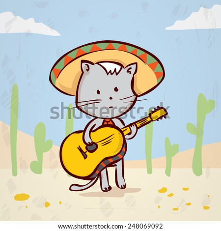 Cat in a sombrero playing traditional Mexican music on the guitar. Hand drawn vector illustration. Mariachi musician. Mexican nature landscape
