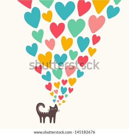 Cat in love. Vector illustration - stock vector