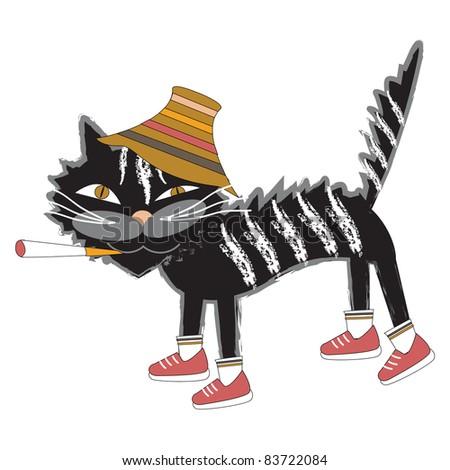 Cat in the hat - stock vector