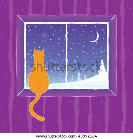 Cat looking into the window at winter landscape. - stock vector