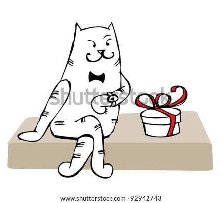 cat-love - stock vector