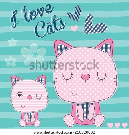 cat love vector illustration - stock vector