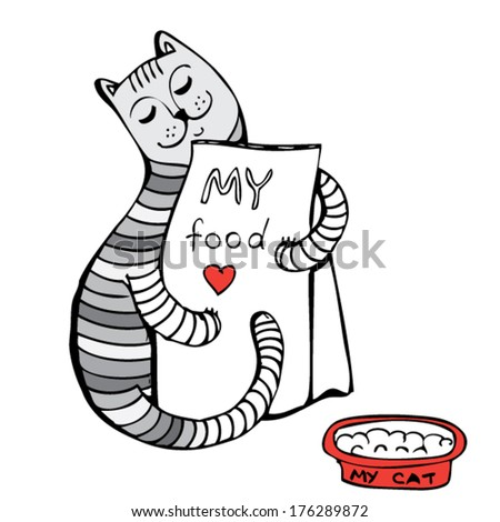 cat loves his food - stock vector