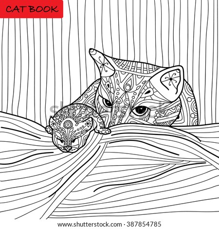 Cat Mother Her Kitten Coloring Book Stock Vector (Royalty Free ...