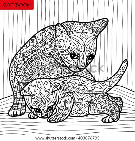 Cat Mother Her Kitten Coloring Book Stock Vector (2018) 403876795 ...