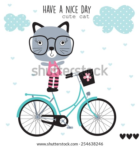 cat on bicycle vector illustration - stock vector