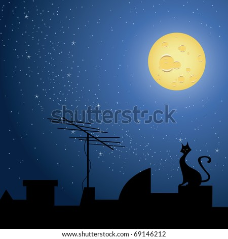 Cat on rooftop, at night with a starry night and full moon. - stock vector