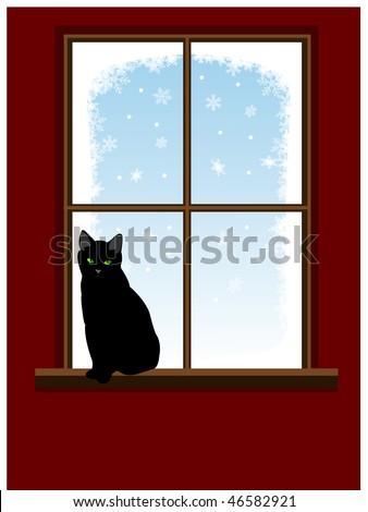 Cat on window - stock vector