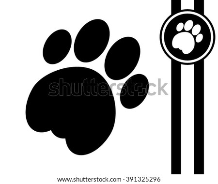cat paw - black and white vector icon