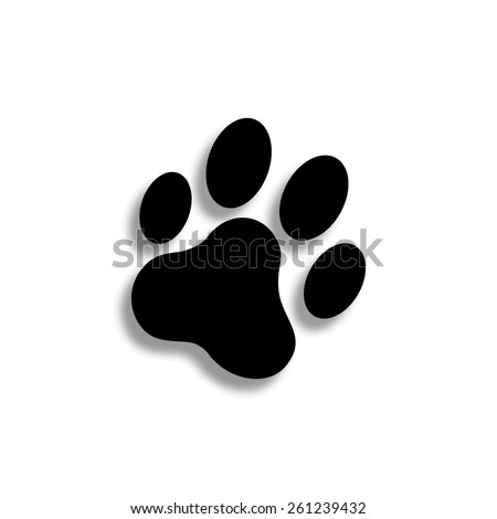 cat paw print vector icon with shadow - stock vector