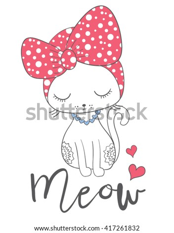 Cat print,T-shirt Print,i love you,Valentine's Day,animal print,For apparel or other uses,in vector.Children illustration for School books and more/cartoon character/animal lover