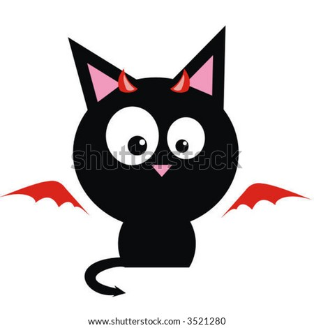 Cat Red Devil - stock vector