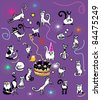 Cat's birthday party - stock vector
