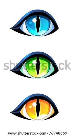 Cat's eyes in three colors - blue, green and yellow, vectors on white background. Simple eyes with pupils and lids.
