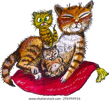 Cat's family. Mother a cat with two kittens lies on a pillow. Vector water color. Children's illustration  - stock vector