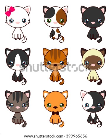 Cat Set, with black cat, white cat, grey cat, grey and white cat, brown and black act, brown cat. Cute cats flat icons. Vector Illustration Cartoon - stock vector