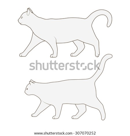 Cat side view scheme silhouette vector illustration