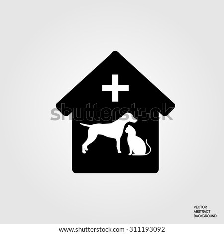 Cat silhouette. Dog silhouette. Veterinary pharmacy. Vet clinic. Caring for animals. - stock vector