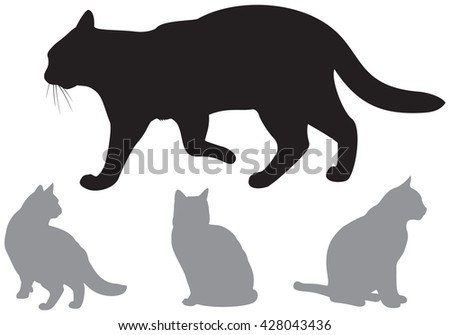 Cat Silhouettes, domestic cats vector illustration
