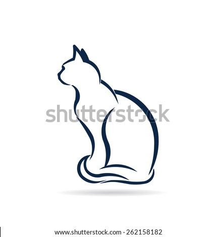 Cat standing silhouette. Advertisement for Animal rescue, veterinary, shop - stock vector