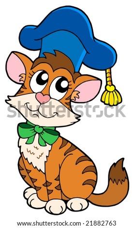 Cat teacher in hat - vector illustration. - stock vector