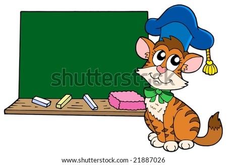 Cat teacher with blackboard - vector illustration. - stock vector