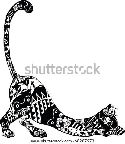 cat with an ornament on the body - stock vector
