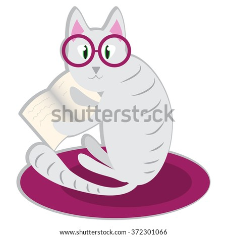 Cat with glasses and book - stock vector