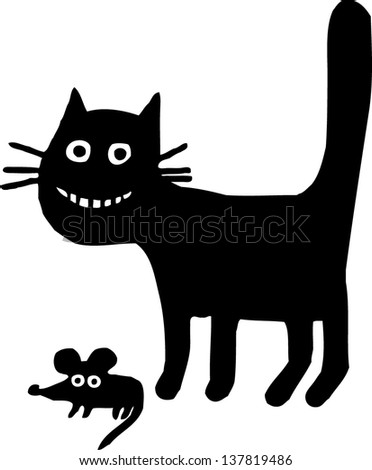 Cat With Mouse - stock vector