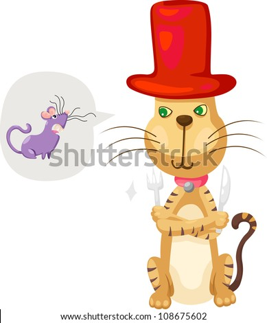 cat with rat vector Illustration