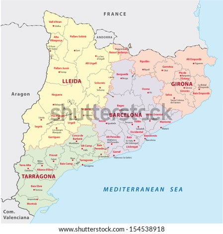 Catalonia administrative map stock vector royalty free 154538918 catalonia administrative map gumiabroncs Image collections