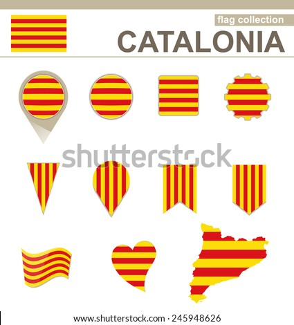 Catalonia Flag Collection, 12 versions - stock vector