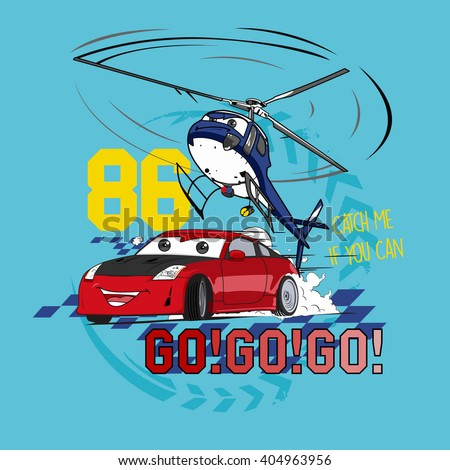 Catch Me. Vector car and chopper Illustration.  - stock vector