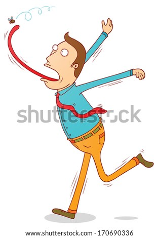 catching fly with tongue - stock vector