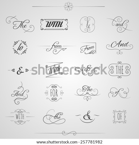 Catchwords and ampersand decorative set with floral elements and swirls isolated vector illustration - stock vector