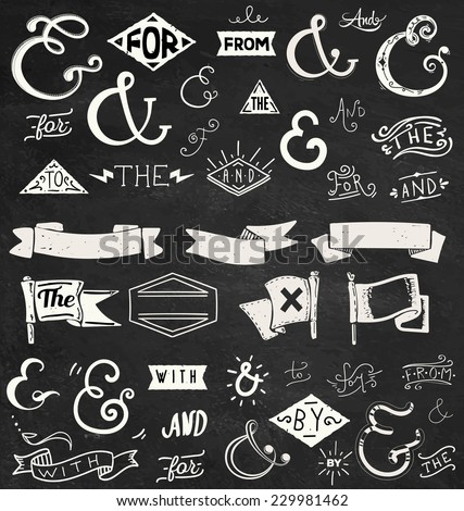 Catchwords, ribbons, ampersands design elements set. at, to, for, the, of, with, by, and, from - stock vector