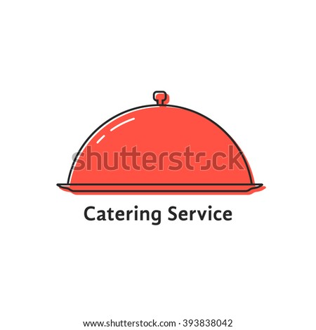 catering service with red linear dish. concept of event, tasty foodie, yummy, servant, platter, breakfast, presentation. flat style trend modern logotype design vector illustration on white background - stock vector