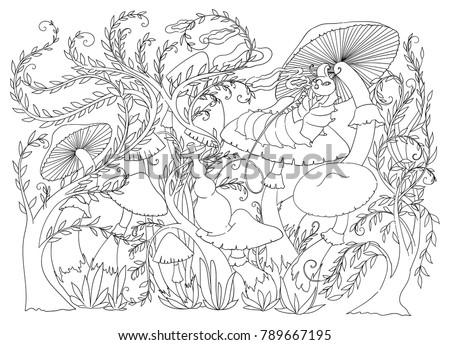 Caterpillar Smokes Hookah On Mushroom Fairytale Vector de ...