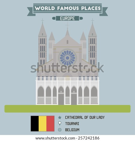 Cathedral of Our Lady. Tournai, Belgium - stock vector