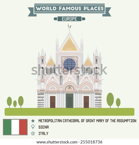 Cathedral of Saint Mary. Siena, Italy  - stock vector