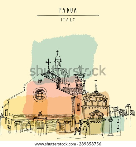 Cathedral of the Assumption of Mary of Padua, Roman Catholic church and minor basilica in Padua, Veneto, Italy. Isolated vector illustration. Historical building. Hand lettering. Postcard template - stock vector