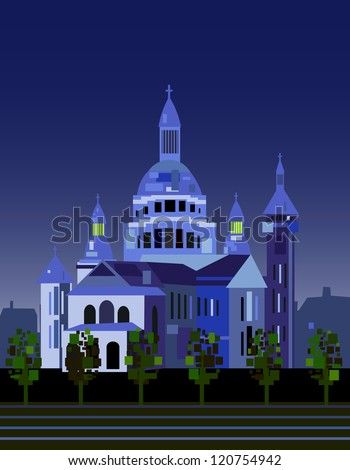 Cathedral  Sacre Coure in Paris. - stock vector