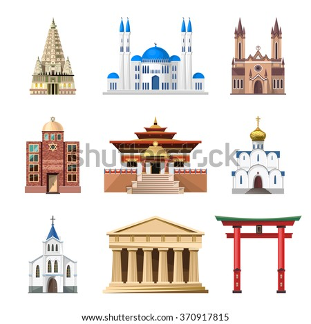 Cathedrals churches mosques vector building set stock for Religious buildings in india